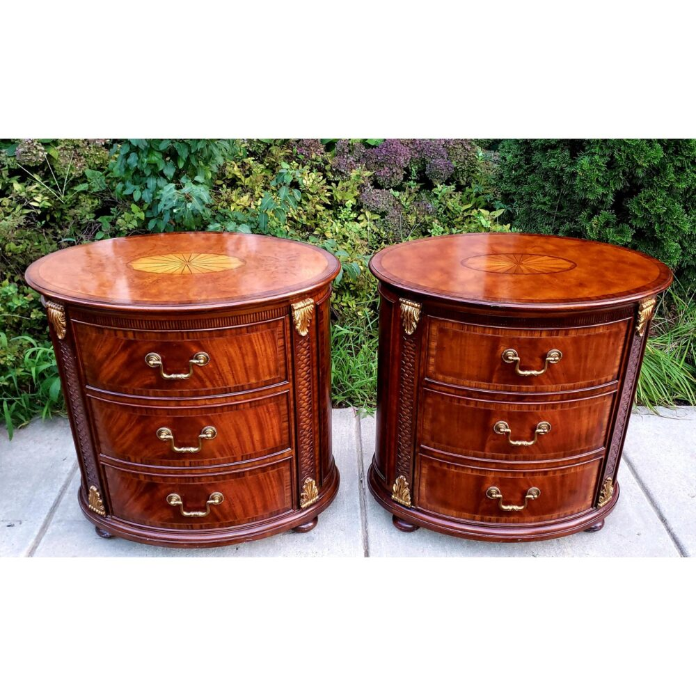 maitland-smith-oval-inlaid-3-drawer-nightstands-commode-end-tables-a-pair-4326
