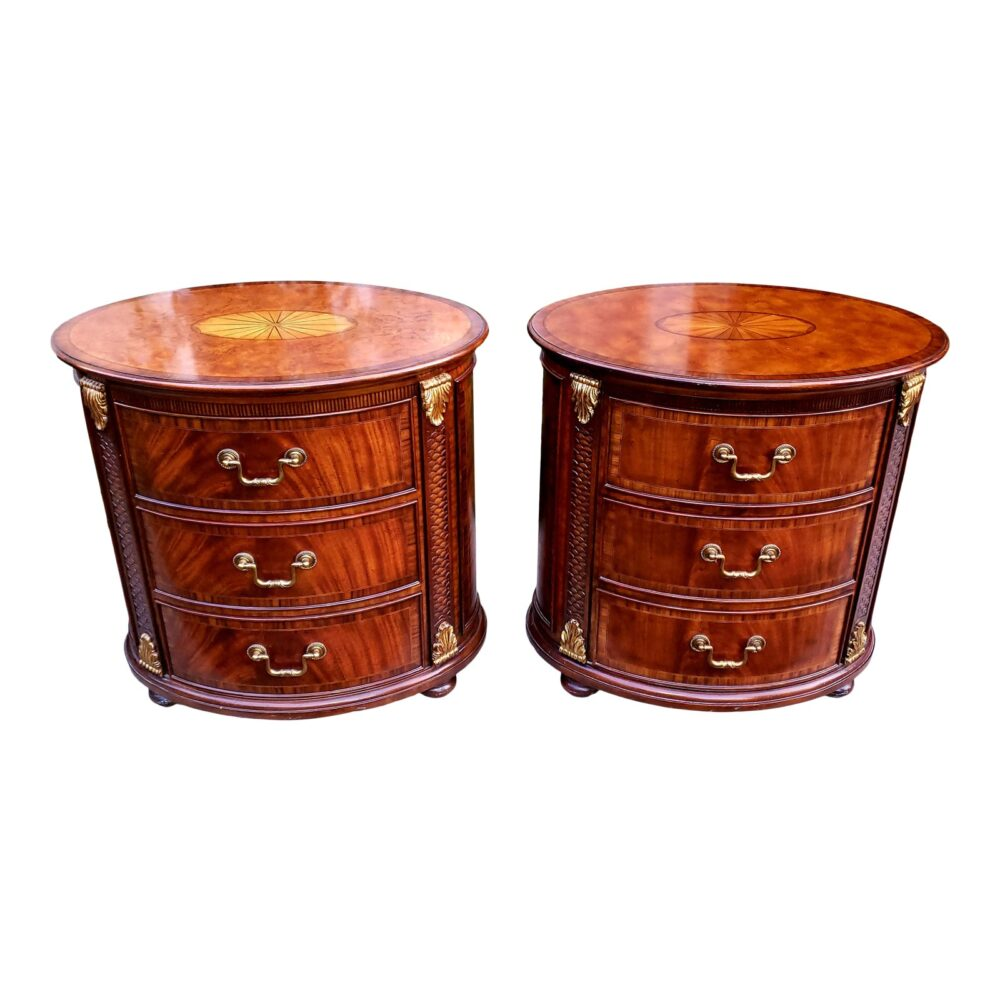 maitland-smith-oval-inlaid-3-drawer-nightstands-commode-end-tables-a-pair-6280