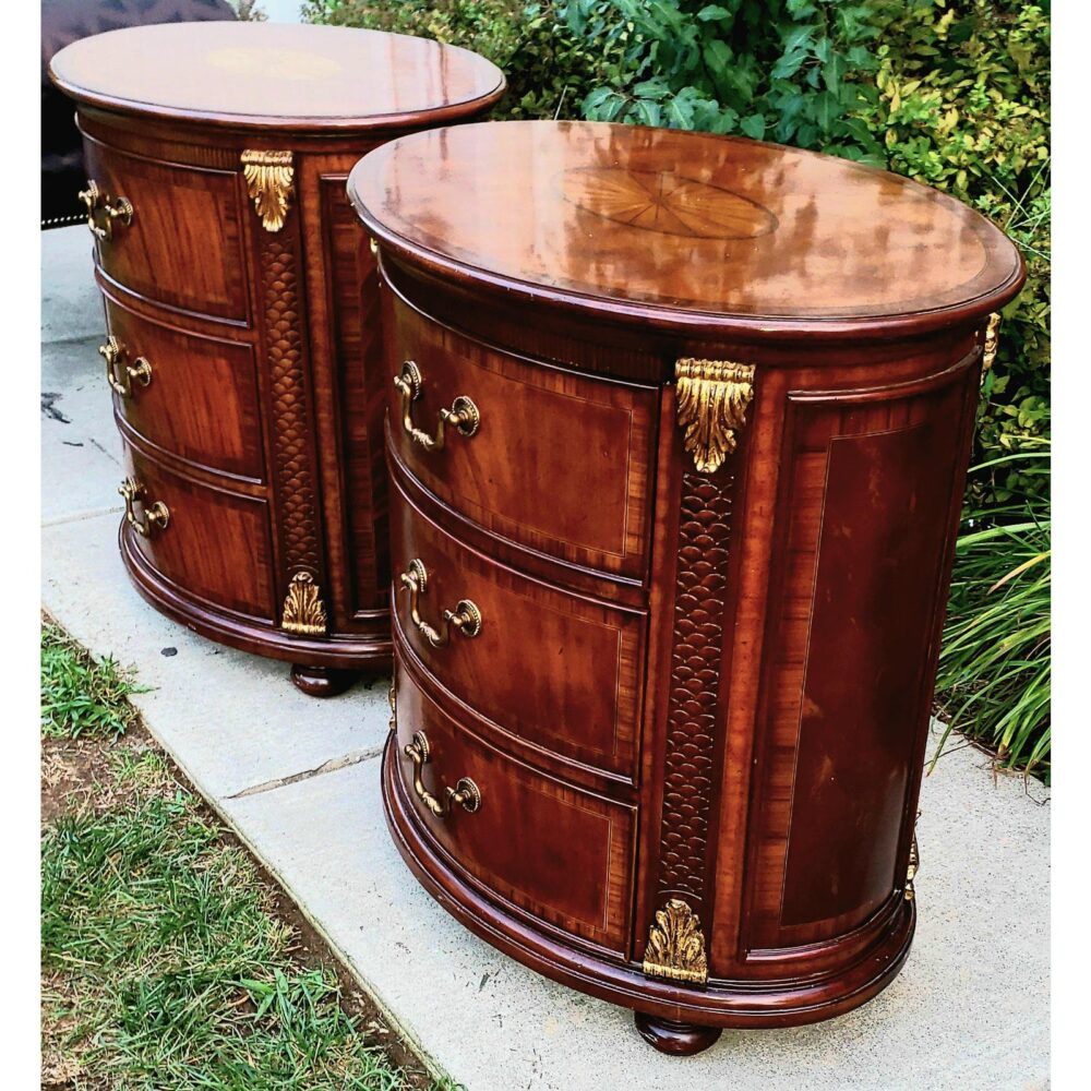 maitland-smith-oval-inlaid-3-drawer-nightstands-commode-end-tables-a-pair-8032